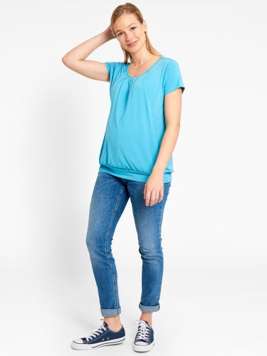 Short Sleeve Pleated Maternity & Nursing Top