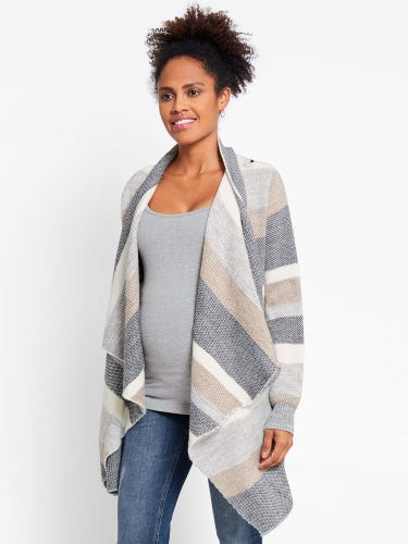 Stripe Drape Maternity & Nursing Cardigan