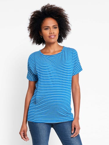 Stripe Maternity & Nursing Batwing Top