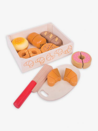 Bigjigs Wooden Cutting Bread and Pastries Crate