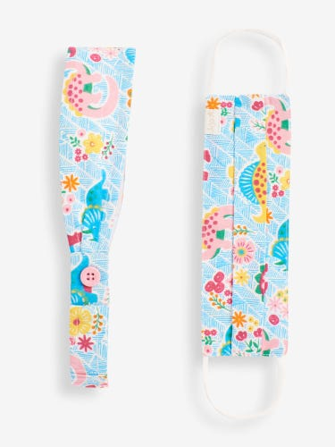 Kids' Dino Floral Print Face Covering and Headband Set