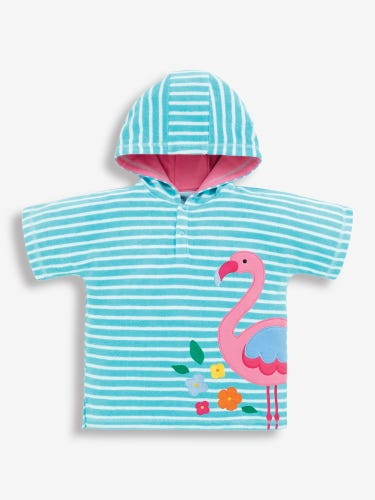 Flamingo Hooded Towelling Poncho