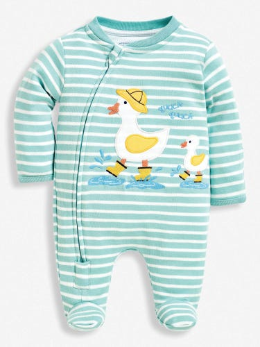 Duck Appliqué Zip Baby Sleepsuit