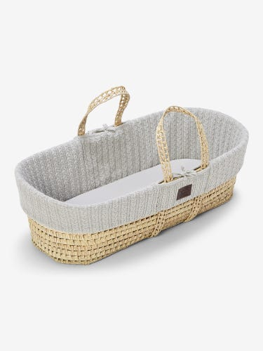 The Little Green Sheep Organic Knitted Moses Basket & Mattress Dove