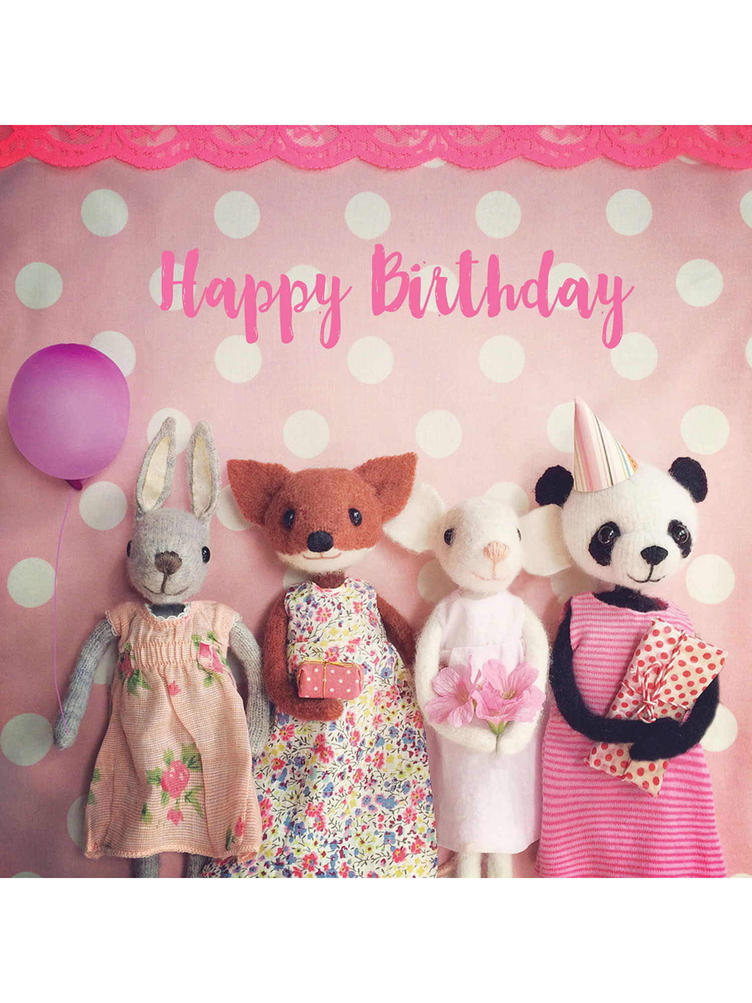 Pippi & Me Pink Happy Birthday Friends Card