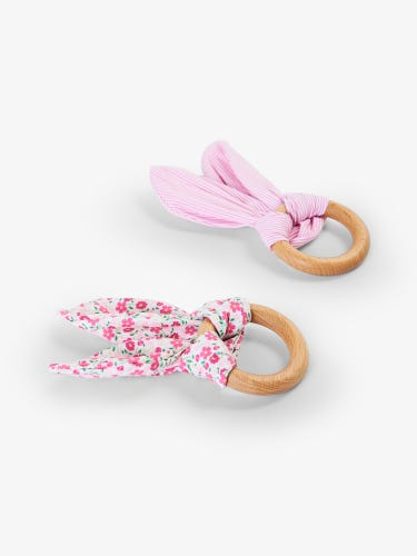 2-Pack Pink Wooden Teethers