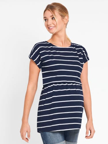 Stripe Maternity & Nursing Double Layer Top