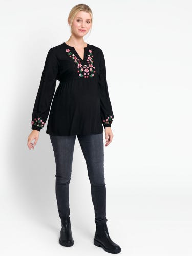 Black Embroidered Maternity Blouse