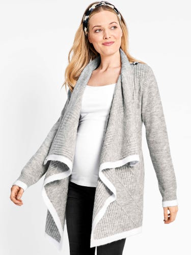 Marl Grey Drape Maternity & Nursing Cardigan