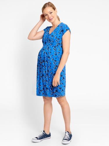Blue Floral Pleated Maternity & Nursing Tunic Dress