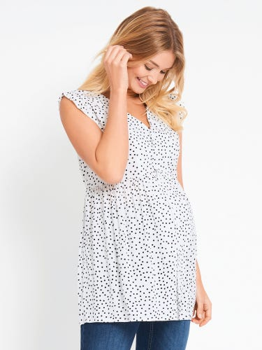 Spot Print Frill Sleeve Maternity Top