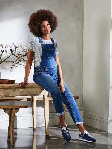 Light Wash Boyfriend Maternity Dungarees