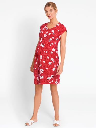 Red Floral Spot Maternity & Nursing Tunic Dress