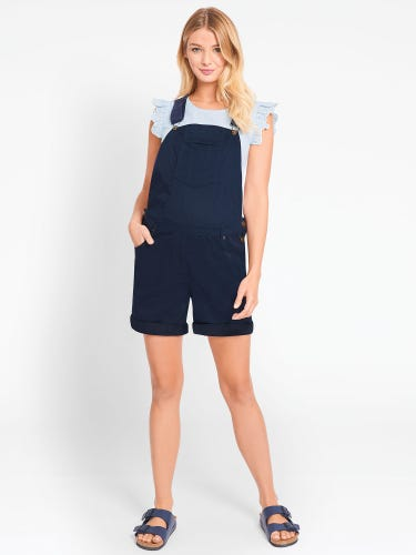 Navy Short Maternity Dungarees