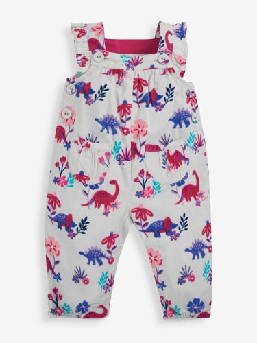 Dino Floral Print Cord Baby Dungarees