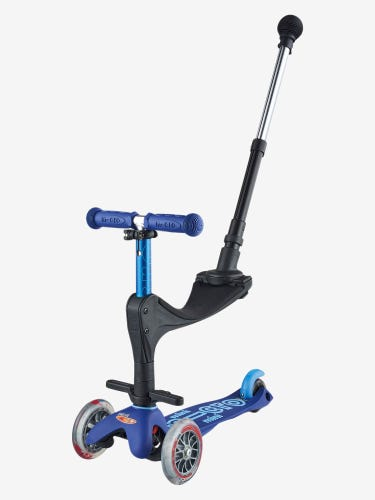 Mini Micro 3-in-1 Deluxe Push Along Scooter Blue