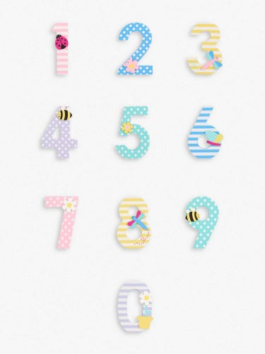 Pastel Wooden Numbers