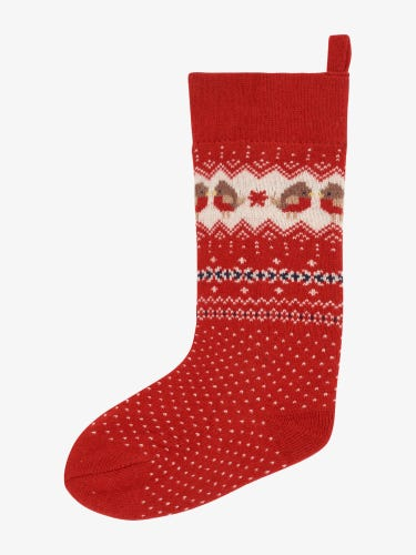 Red Robin Knitted Christmas Stocking