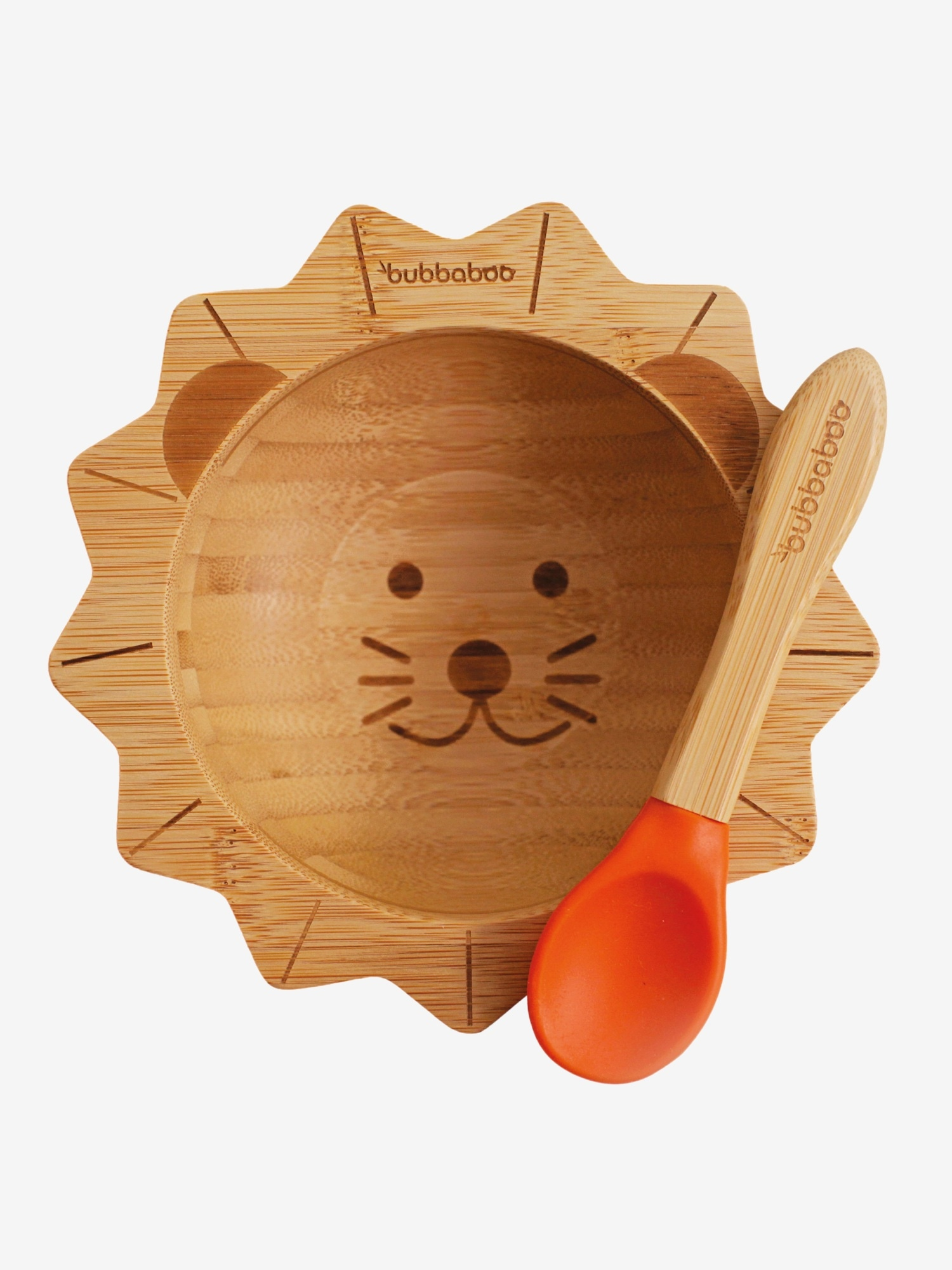 Bubbaboo Bamboo Lion Bowl and Orange Spoon Set