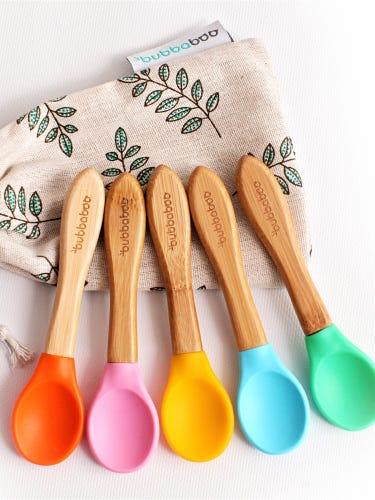Bubbaboo Set of 5 Bamboo and Silicone Tip Spoons