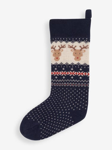 Blue Reindeer Knitted Christmas Stocking