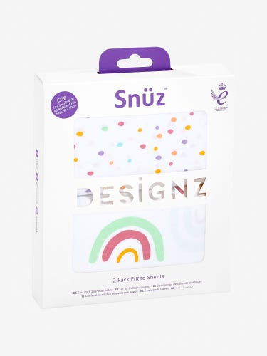 Snuz Crib Fitted Sheets Rainbow 2-Pack