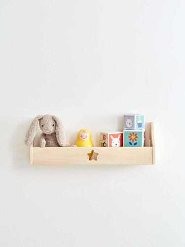 Natural Wood Cubby Shelf