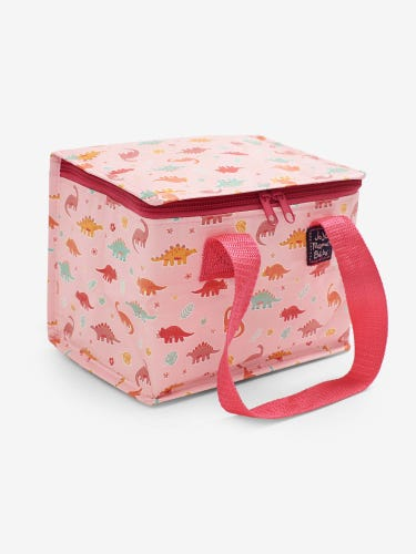 Pink Dino Insulated Food and Bottle Bag