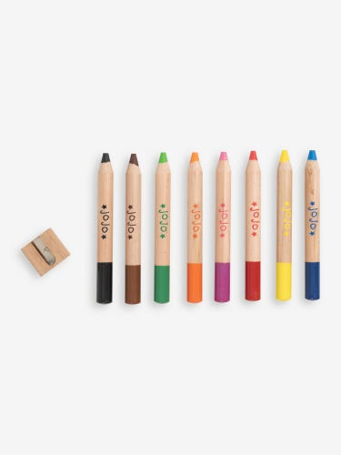 8 Chunky Wooden Colouring Pencils