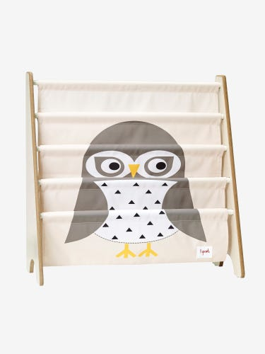 3 Sprouts Book Rack - White Owl