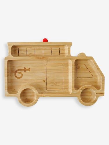 Bubbaboo Bamboo Fire Truck Plate Red