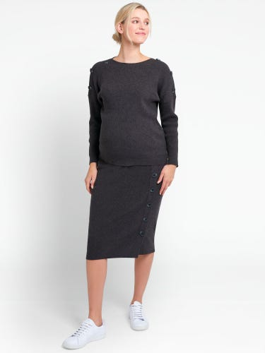 Charcoal Rib Knitted Maternity Pencil Skirt