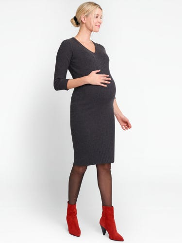 Charcoal Knitted Maternity Tube Dress