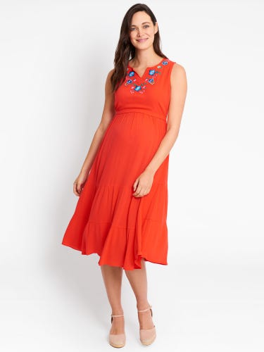 Red Embroidered Tiered Maternity & Nursing Dress