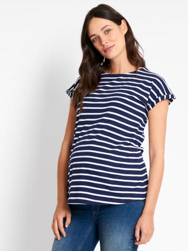 Navy & White Stripe Boyfriend Maternity T-Shirt