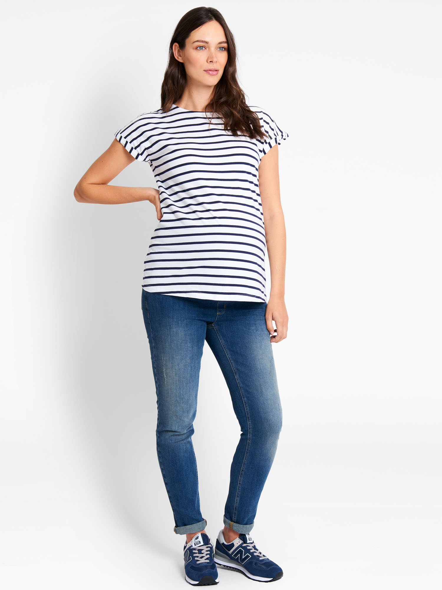 White & Navy Stripe Boyfriend Maternity T-Shirt
