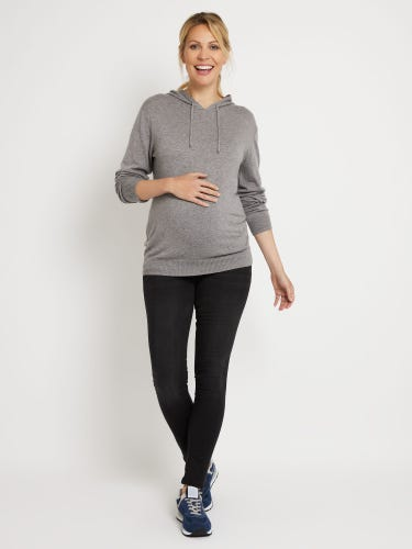 Marl Grey Knitted Cashmere Mix Maternity Hoodie