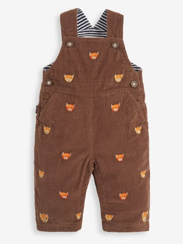 Highland Cow Embroidered Baby Dungarees