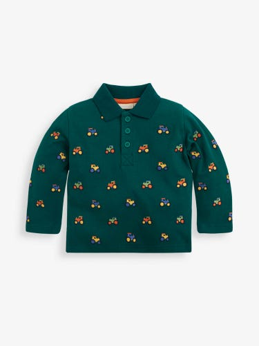 Green Tractor Embroidered Polo Shirt