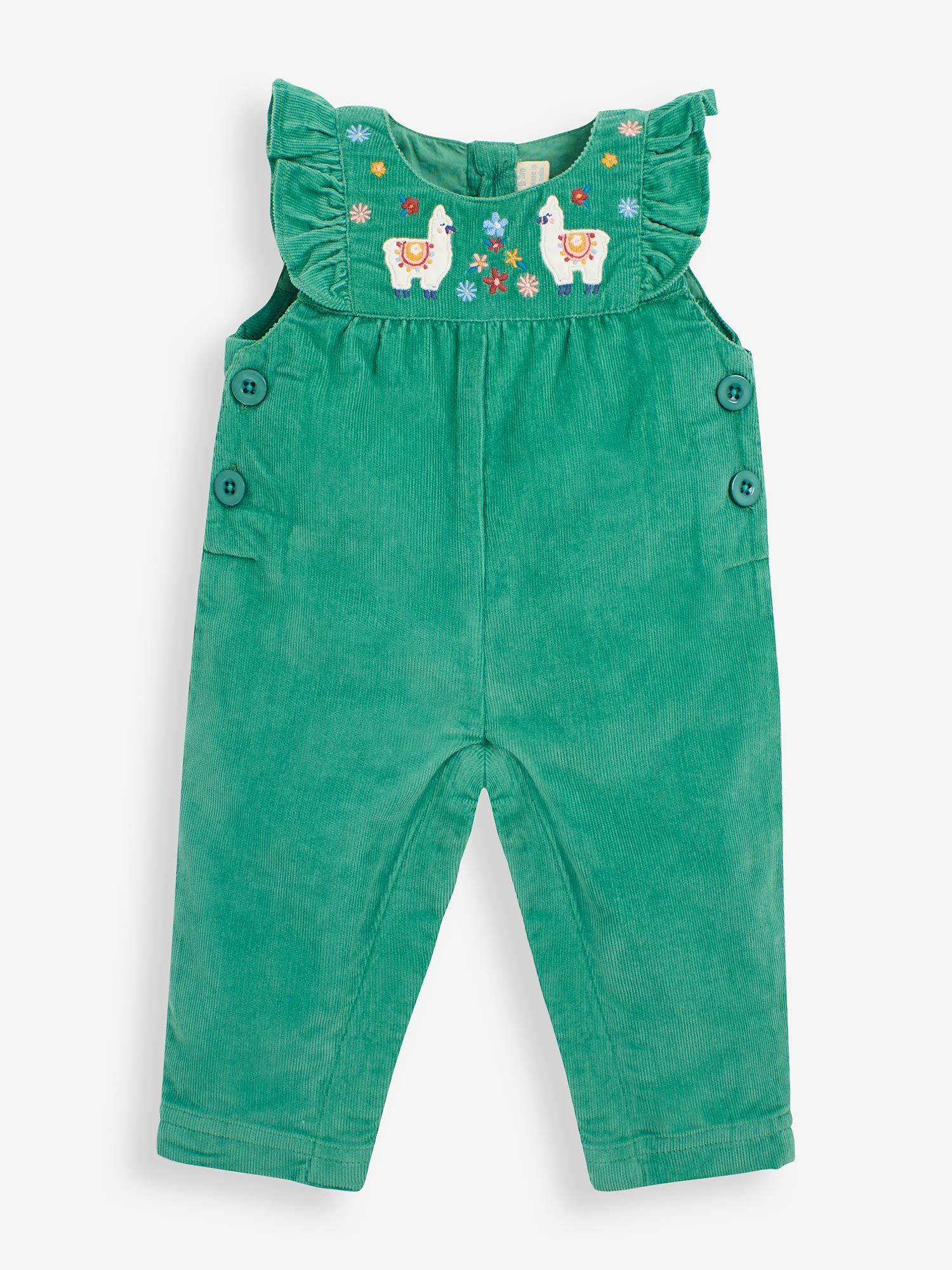 Llama Embroidered Cord Baby Dungarees