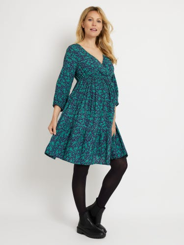 Green Ditsy Floral Tiered Maternity Dress