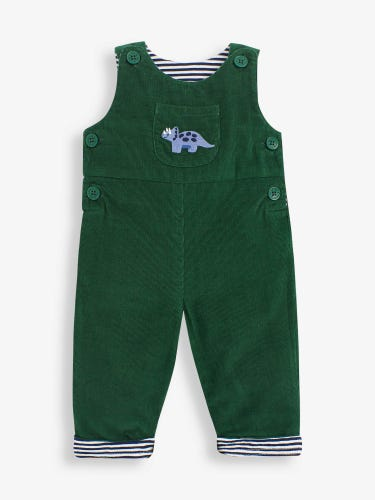 Green Dino Cord Baby Dungarees