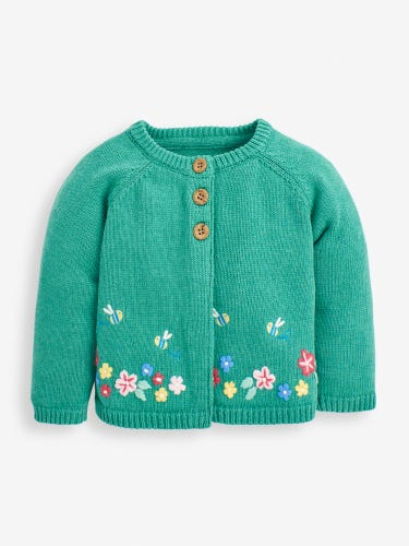 Girls' Green Bee Embroidered Cardigan