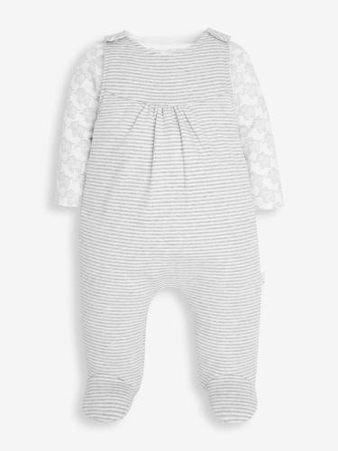 2-Piece Grey Elephant Dungaree Set