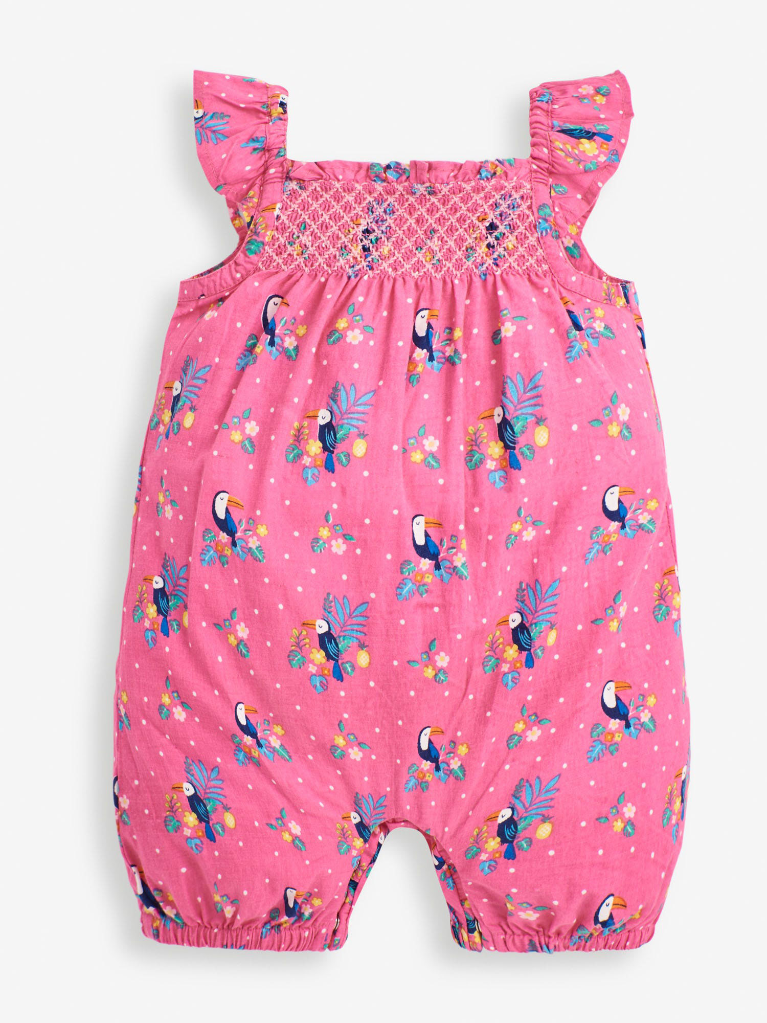 Orchid Toucan Smocked Baby Sunsuit