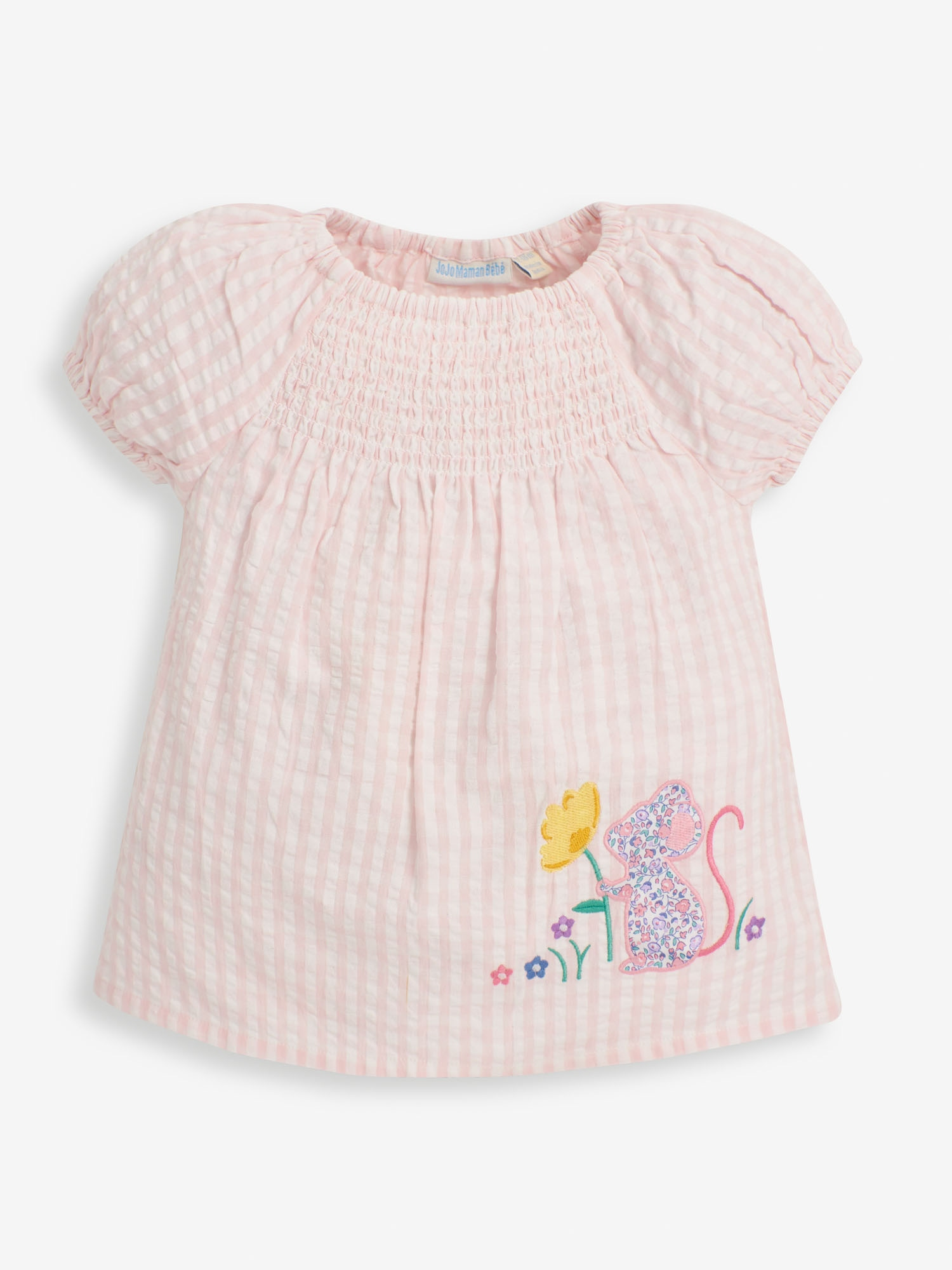 Girls' Mouse Applique Smocked Top