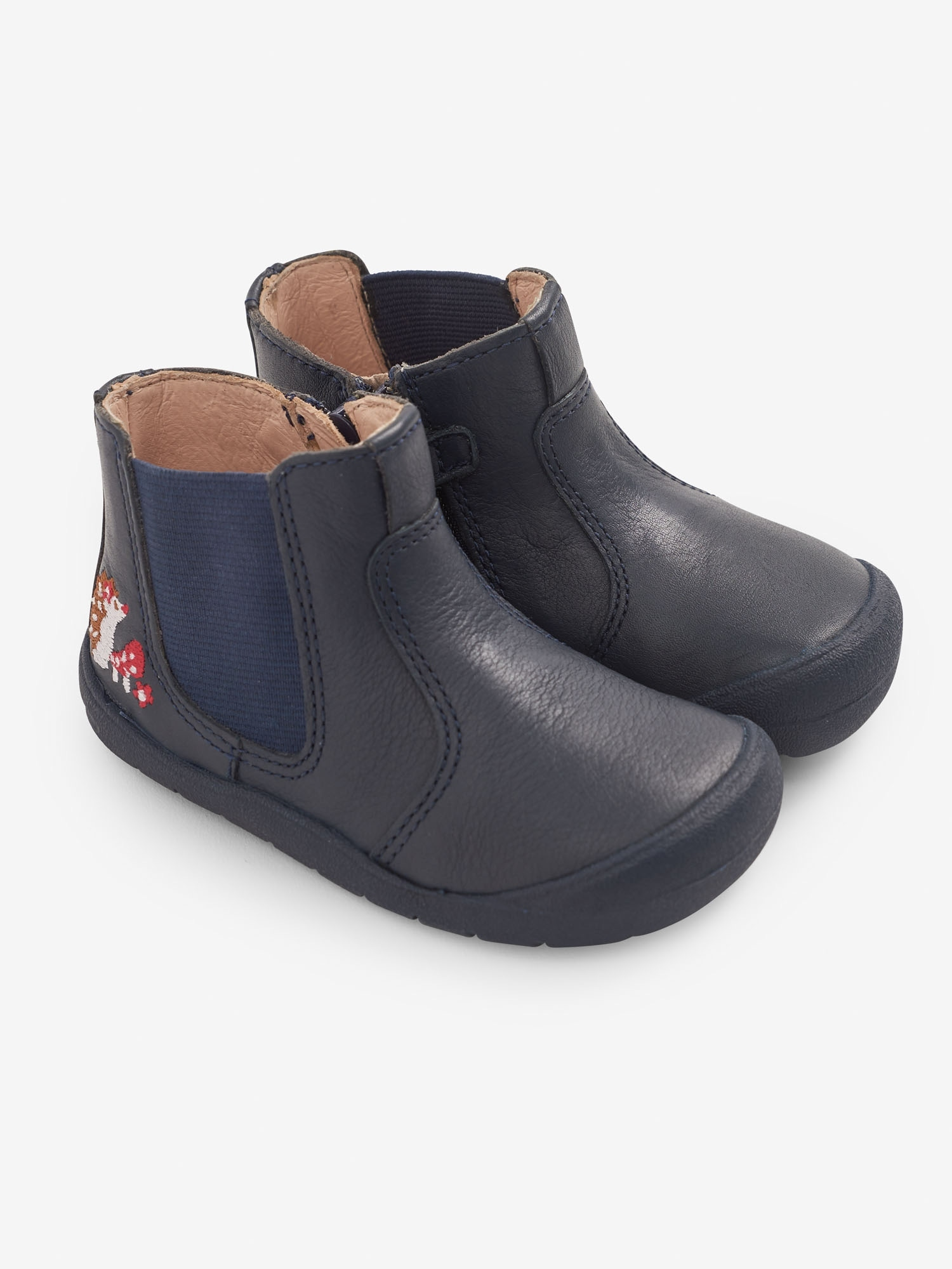 Start-Rite Navy Hedgehog Leather Boots