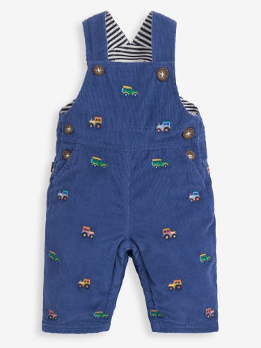 Indigo Tractor Embroidered Baby Dungarees