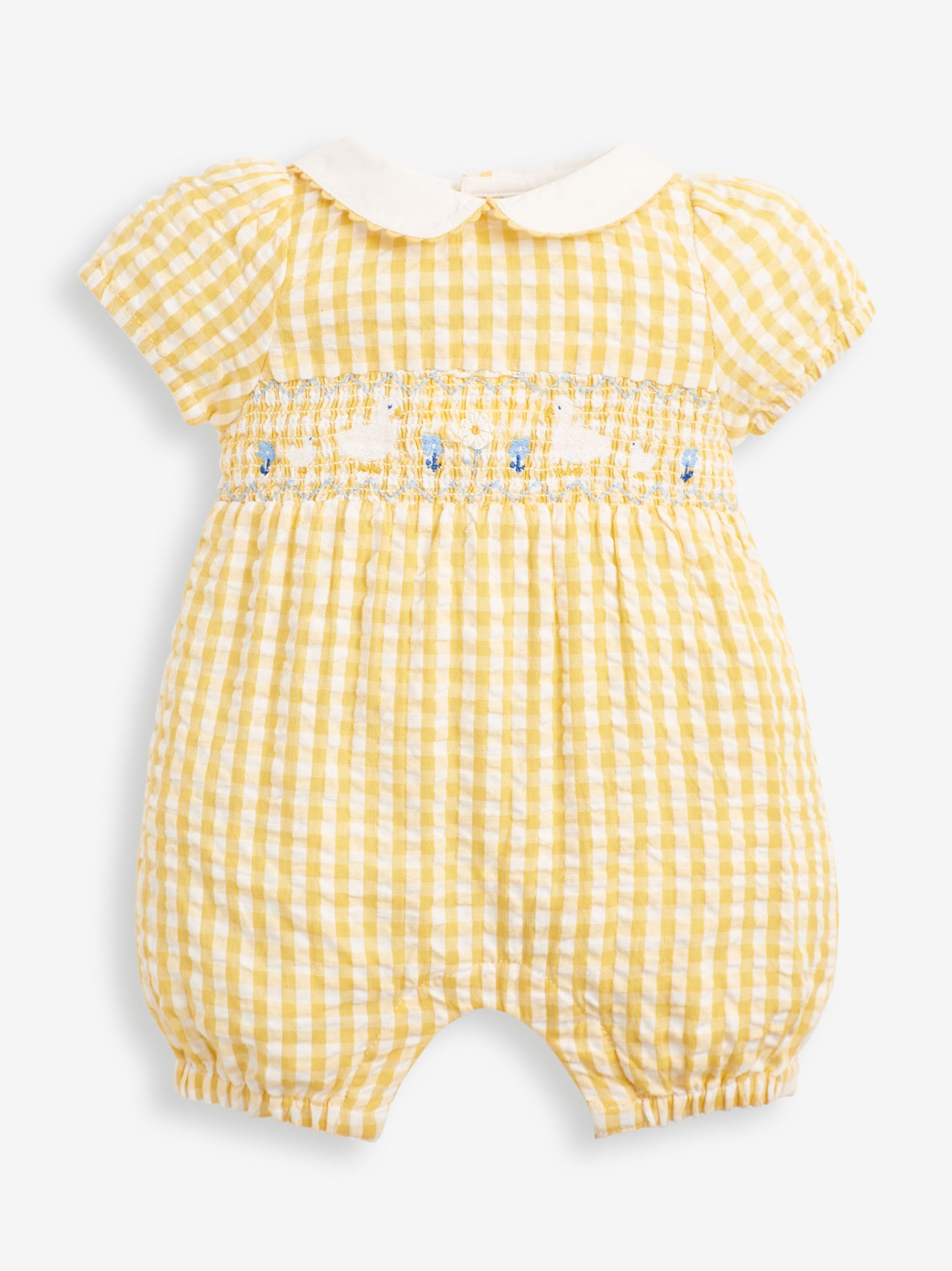 Baby Products Lemon Duck Embroidered Smocked Baby Romper