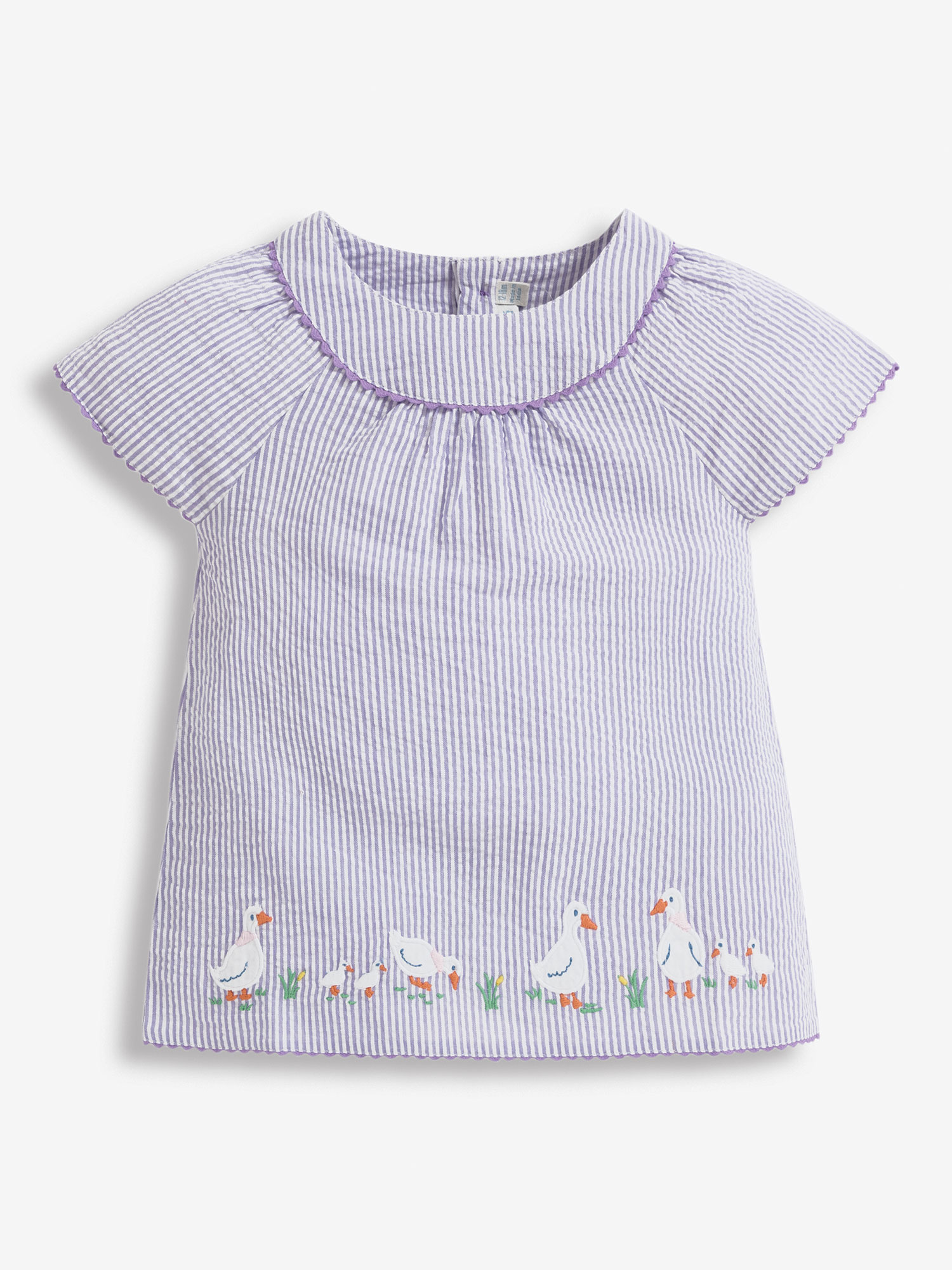 Girls' Lilac Duck Embroidered Blouse